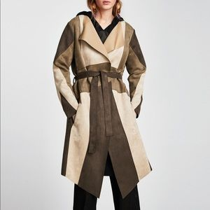 Zara Basic contrasting long faux suede jacket